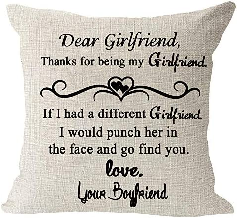 Dear Girlfriend Punch Her in The Face and Go Find You Love Your Boyfriend Gift Cotton Linen product image