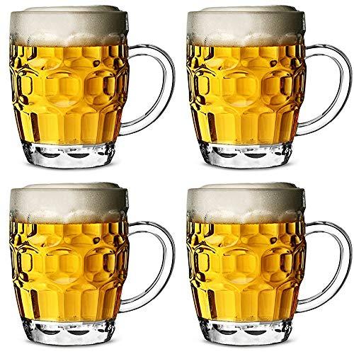 Bierglas bierpul polycarbonaat plastic met verdiepingen CE 568 ml - set van 4 vatbier glazen, pink glas, pint kruik