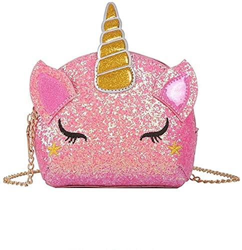 TXVSO Small Glitter Nettes Einhorn Crossbody Geldbörse Umhängetasche Handtasche Reißverschluss für Mädchen Teens Frauen, Rosa