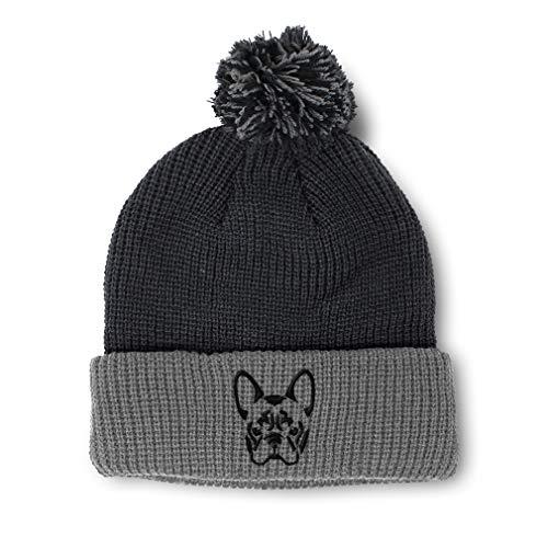 Custom Pom Pom Beanie French Bulldog Silhouette Embroidery Acrylic Skull Cap Winter Hat for Men & Women Black Grey Design Only