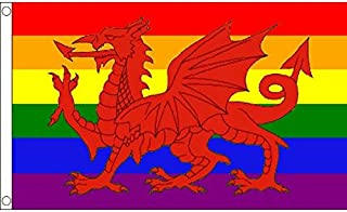 AZ FLAG Wales Rainbow weles Dragon Flag 3' x 5' - Gay Welsh Flags 90 x 150 cm - Banner 3x5 ft