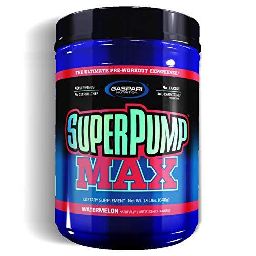 Gaspari Nutrition Super Pump Max - 1 paquete x 640 g - Energía, fuerza, concentración - Creatina con cafeína (Watermelon)