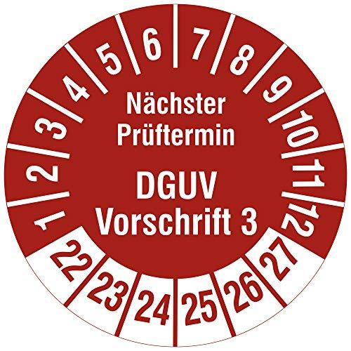Labelident Mehrjahresprüfplakette 2022-2027 - Nächster Prüftermin DGUV Vorschrift 3 - Ø 30 mm, 1000 widerstandsfähige Prüfplaketten auf Rolle, Vinyl, rot, selbstklebend