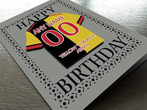 MyShirt123 Geburtstagskarten mit Fußballmotiv – jeder Name, Jede Nummer und jedes Team – kostenlose Personalisierung, Watford FC Geburtstagskarte
