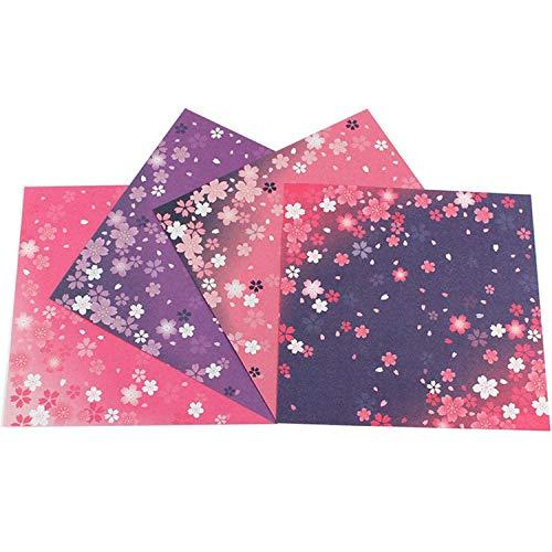 Papel para Papiroflexia, 180 Hojas Papel Origami, flores de cerezo japonesas, 4 diseños diferentes para Manualidades DIY Proyectos de Artes y Manualidades Juego de Origami Animado(15 * 15cm)