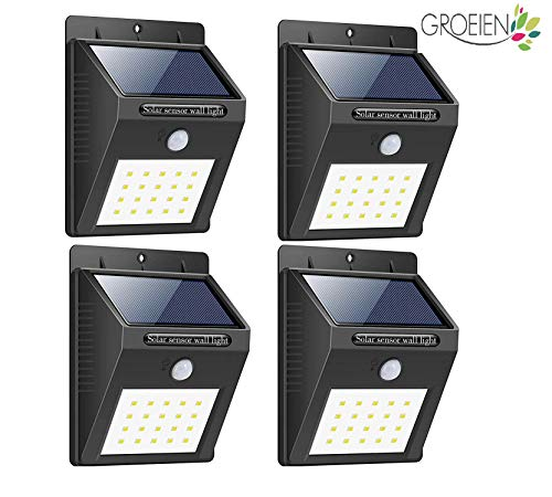 Groeien® Waterproof Bright Solar Wireless Security Motion Sensor 20 LED Night Light for Outdoor/Garden Wall (Black)(pack of 4)