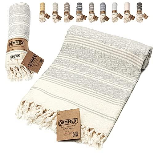 DEMMEX Certified 100% Organic Cotton & Organic Dye Prewashed XL Diamond Weave Turkish Cotton Towel Peshtemal Blanket for Bath,Beach,Pool,SPA,Gym, 71x36 Inches (Grey)
