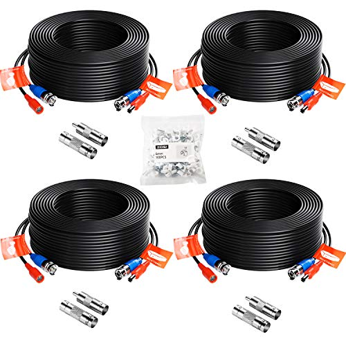 YP 16FT 5M Security Camera Cable CCTV Video Power Wire BNC RCA Black Cord 8 Pcs