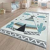 TT Home Alfombra Infantil, Habitación Infantil Colores Pastel, Motivo 3D Tipi Indio En Beige, Größe:120x170 cm