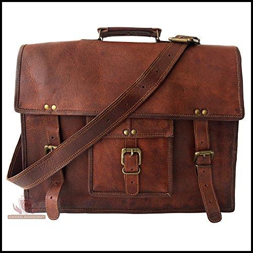 Laptop Messenger Bag Real Vintage Leather Office Handmade Satchel Brown Leather Shoulder Laptop Bag Briefcase Crossbody College Bag 18 inches