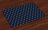 Indigo Place Mats Set of 4, Square Shapes On Dark Blue Backdrop Navy Inspired Pattern Print, Washable Fabric Placemats For Dining Room Kitchen Table Decor, Blue White 16x24(IN)