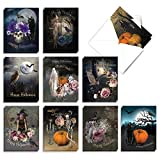 The Best Card Company - 20 Spooky Halloween Cards (4 x 5.12 Inch) - Scary and Frightful Ghosts Monsters, Dark and Creepy (10 Designs, 2 Each) - Ghoulish Greetings AM9147HWG-B2x10