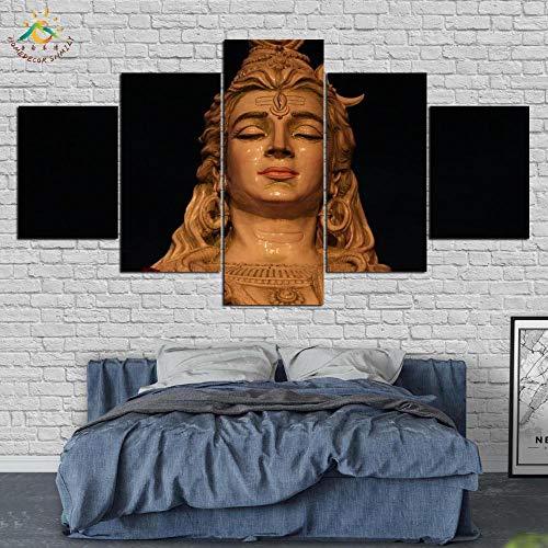 wmcz Señor Shiva Cuadros En Lienzo Grandes Shiva Parvati Arte De Pared De Lienzos Mitología India Lienzo Personalizado 5 Piezas Entrega Rápida Decoración para Hogar Regalos para creyentes