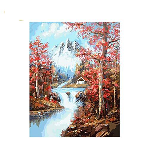 GKJRKGVF Clear Stream mit Baum DIY Malen nach Zahlen snown Berg Ölgemälde auf LeinwandAcrylwand