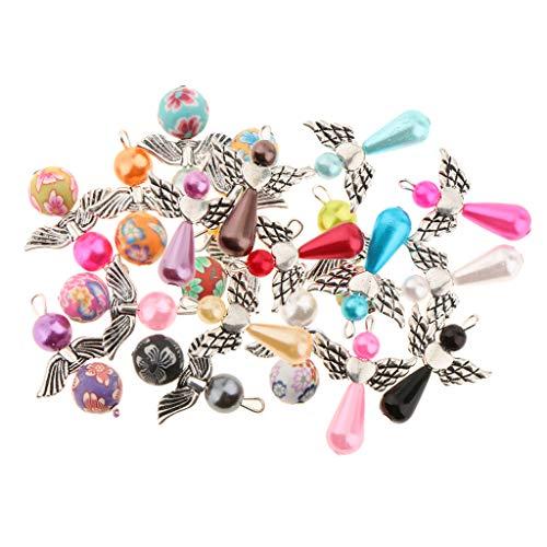 Fenteer 40pcs Charms Cuelgan Colgantes de Perlas para Pendientes, Pulseras, Collares, Trabajos Artesanales Hechos a Mano