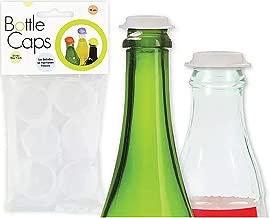 Linden Sweden Reusable Plastic Bottle Caps, Set of 10 - Save Beverages, Prevent Spillage - Dishwasher-Safe - BPA-Free, White