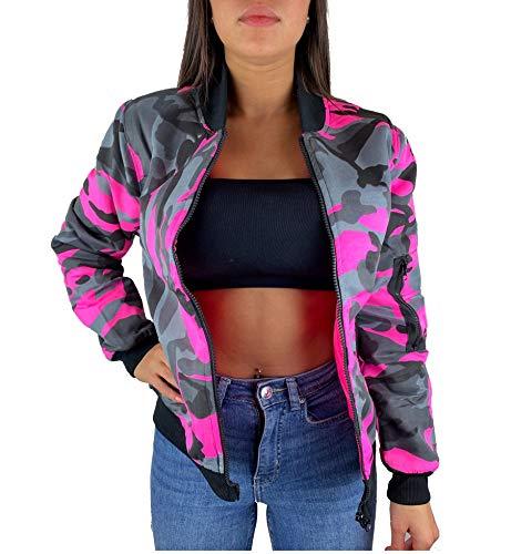 Worldclassca Damen Camouflage Bomber Jacke MILITÄR ROSA PINK Bomberjacke Retro Piloten Biker ÜBERGANGS Blouson Fliegerjacke Army Parka KURZ MIT REIßVERSCHLUSS Zip (S/M - (36-38), Pink-Camouflage)