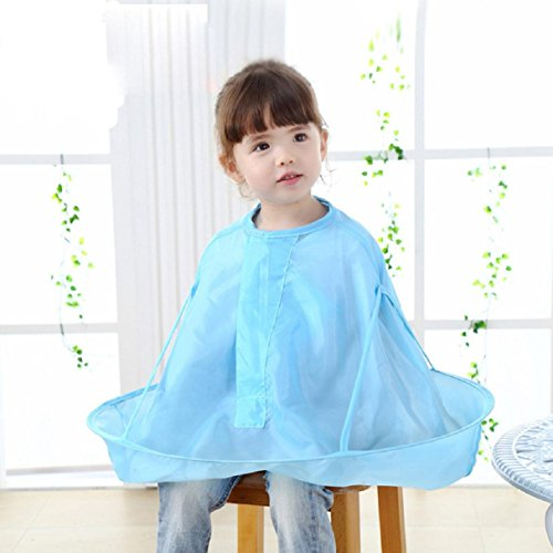 Apron Bibs, Witspace Kids Child Cutting Hair Apron Waterproof Collar Cloth Salon Barber Cape Hairdressing Apron Bibs (Blue)
