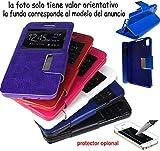 munddy Funda Libro con Ventana con Soporte Flip Cover de Cuero Polipiel para WIKO Slide (Protector Cristal Templado Opcional) (Negro) …