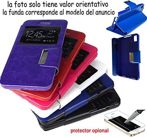 munddy Funda Libro con Ventana con Soporte Flip Cover de Cuero Polipiel para Xiaomi Redmi 4A (Protector Cristal Templado Opcional) (Negro) …