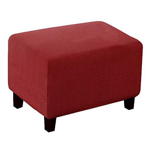 XJHKG Knitted Funda De Reposapiés, Protector De Taburete Rectangular Impermeable Lavable A Máquina para El Salón (Red,Medium)
