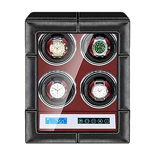 ZCYXQR Enrollador de Reloj para Reloj automático Pantalla LCD Control táctil Retroiluminación Interior Almohadas de Reloj Ajustables Motor silencioso Enrollador de Reloj