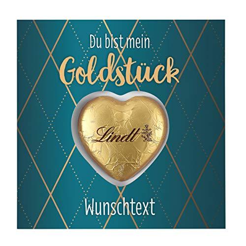 Herz & Heim® Süße Grüße - Grußkarte inkl. Lindt Schokoladen-Herzen Du bist mein Goldstück mit Wunschtext