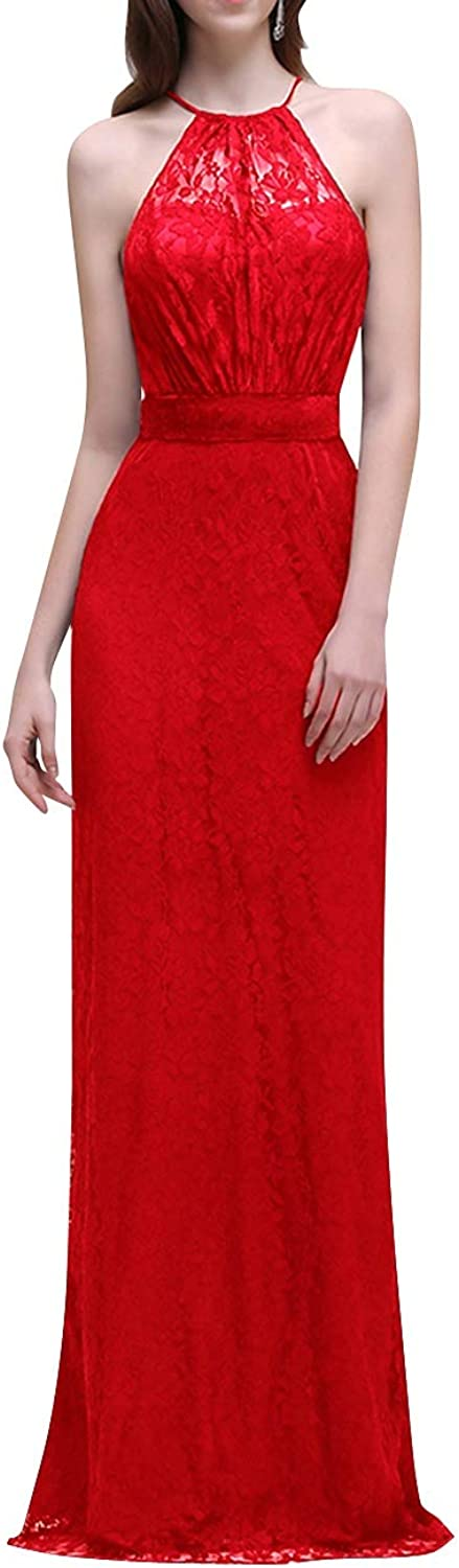 SUNFURA Women's Lace Sheath Round Neck Open Back Long Prom Evening Party Dress