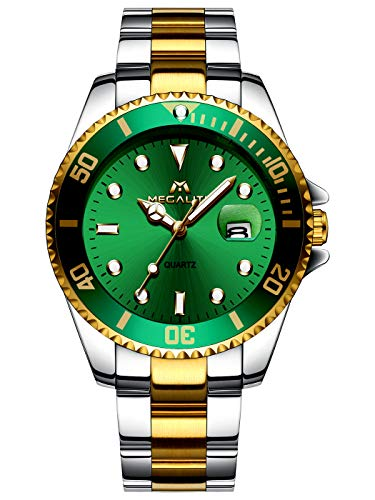 MEGALITH Mens Watches Gold Stainless Steel Watches for Men Waterproof Green Large Face Watches Men Wrist Watch Analogue Gents Watches Luminous Date Business Dress