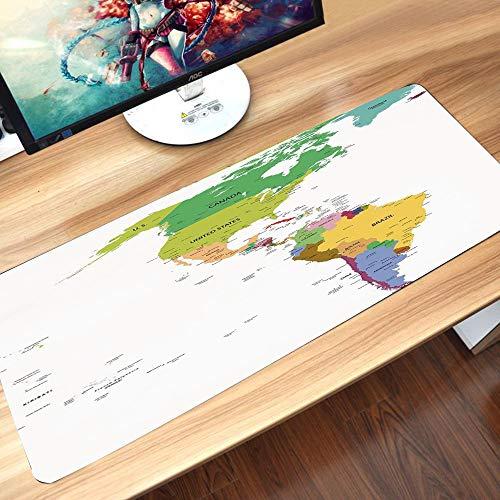 Alfombrilla goma antideslizante para ratón,Mapa, Mapa de América del Sur y del Norte con Países Capitales y Ciudades Principales Diseño Colorid,Lavable, con diseños, para Gamers, PC y Portátil60x35 cm