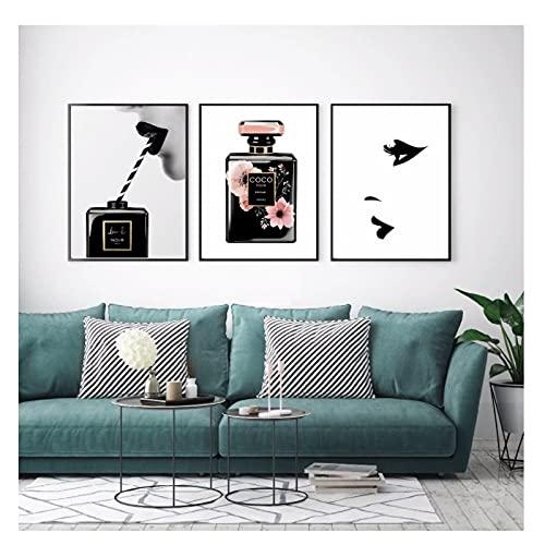 ZFLSGWZ Decoración Moda Arte De La Pared Botella De Perfume Arte De La Pared Labios Cuadros De La Pared para Mujeres Sala De Estar Pintura De La Lona Posters-40X60Cmx3Pcs Sin Marco