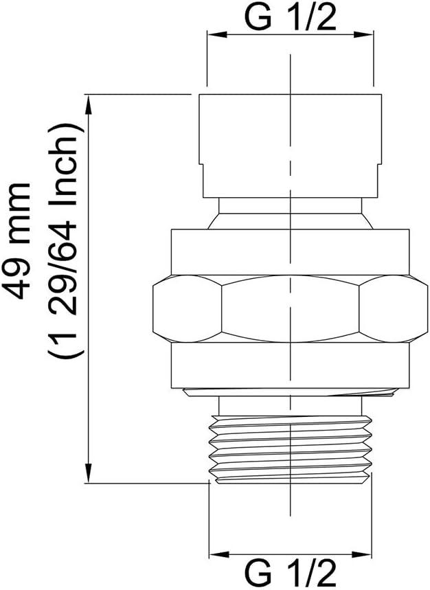 Bras dextension r/églable R/ésistant /à la rouille Fengshengli Connecteur de pommeau de douche /à grand d/ébit deau Pour salle de bain poli Adaptateur universel en laiton Joint /à rotule