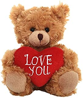 Plushland Stuffed Mocha Heart Bear – Love You- Plush Bear Toy for Kids & Adults - Embroidered Heart Pillow - Brown-6 inches