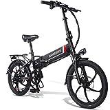 20LVXD30 Bicicleta electrica, Plegable Bicicleta eléctrica para Adultos 10,4 Ah 350W Neumático Gordo 20 Pulgadas con Shimano 7 velocidades Bicicletas ciclomotor Rápido para Hombres Mujeres-Negro