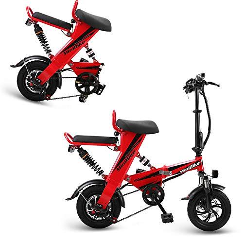 AA100 Elektrisches Fahrrad, zusammenklappbarer Außenroller mit Allradantrieb für Erwachsene 48V15A / 18A / 25A Lithium-Ionen-Batterie, Doppelscheibenbremse (rot),Double,15A