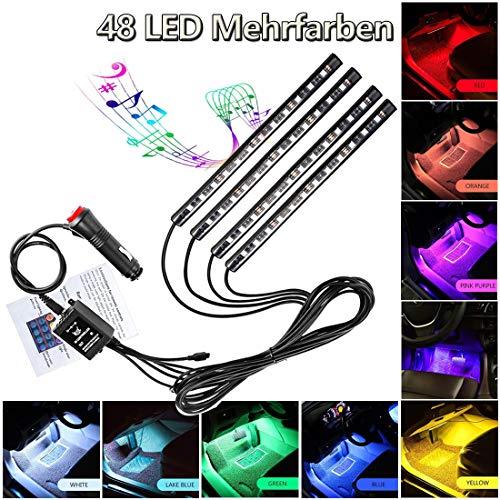 Auto Innenbeleuchtung LED Atmosphäre Licht Auto Fußraumbeleuchtung, 12V RGB 48 Streifen Lichter Neon Lichter mehrfarbige Musik Induktion wasserdicht flexible StreifenLicht mit Fernbedienung (48 Leds)