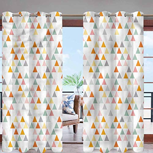 Hiiiman Fade Resistant Blackout Curtains with Grommet Top Colorful Triangles W96 x L108 for Sliding Door, Patio, Pergola, Porch, Deck, Lanai, and Cabana