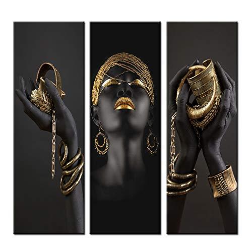 HSFFBHFBH Afrikanische Frau Leinwand Bilder Kunst Gemälde Wandkunst Schwarze Hände mit goldenem Schmuck Wohnkultur Poster und Drucke 50x150cm (20