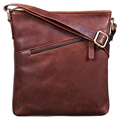 STILORD \'Stella\' Vintage Handtasche Damen Leder klein zum Umhängen Schultertasche für Freizeit Shopping Abend Tablettasche Echtleder, Farbe:Porto - Cognac