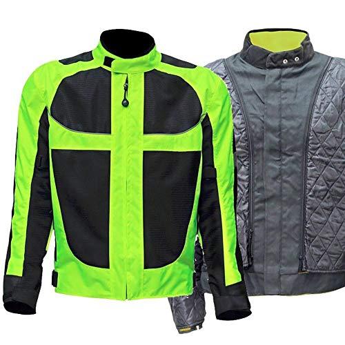 ZXCV Winter Motorrad-Jacken-Hosen-Motorrad der Männer der Frau Jacke Moto Protektoren Jacke Reflektierende Bekleidung Grün,Jacket,XXXXL