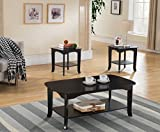 Kings Brand Furniture Kings Brand Furniture-3-Piece Espresso Occasional Set, Coffee 2 End Tables