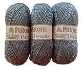 Patons Shetland Chunky Tweed Yarn Wool Blend 3-Pack (Pewter)