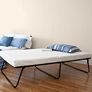 Twin-size folding guest bed with metal grid frame design 4 inch foam mattress Folds in half for easy storage; Storage bag included 14 inches of space underneath the frame for storage Worry Free 1 year limited warranty