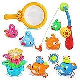 LEADSTAR Juguetes de Baño para Bebé,15PCS Juguetes Bañera Flotante con Juegos de Pesca para Bebe Niños Agua Piscina Baño Playa Regalo Bueno de Cumpleaños Navidad