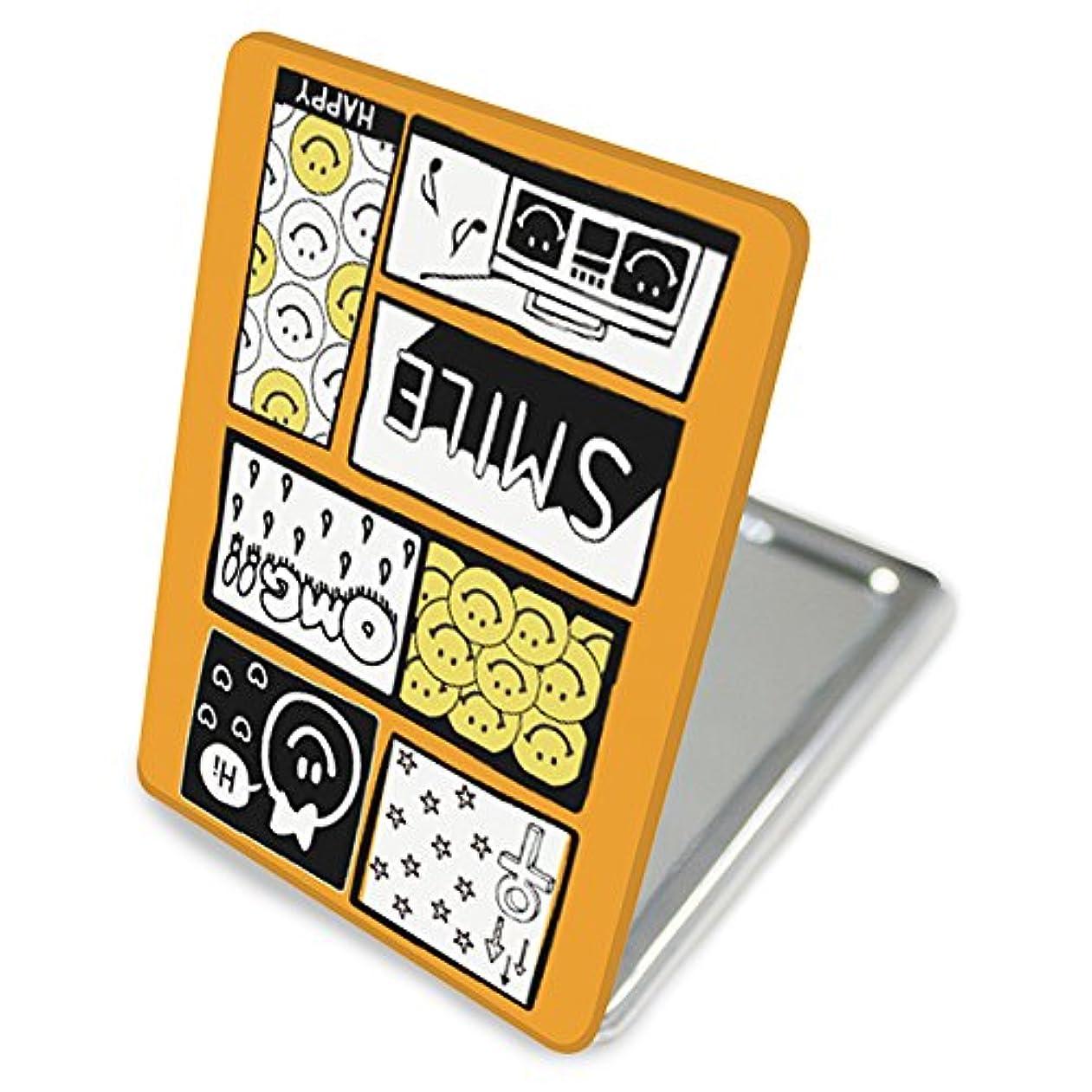 有利海嶺フォアマン(カリーナ) Carine 手鏡 コンパクトミラー ハンドミラー 拡大鏡付 持ち歩きに便利 かわいい kgm010(E) スマイル ポップ デザイン ニコちゃん