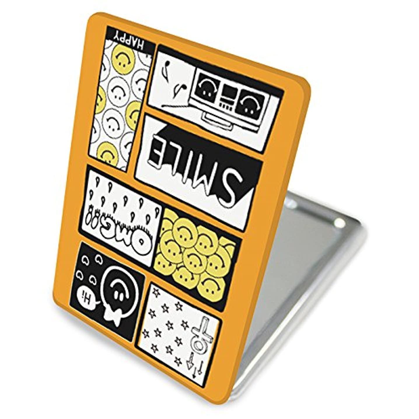 彼女すり討論(カリーナ) Carine 手鏡 コンパクトミラー ハンドミラー 拡大鏡付 持ち歩きに便利 かわいい kgm010(E) スマイル ポップ デザイン ニコちゃん