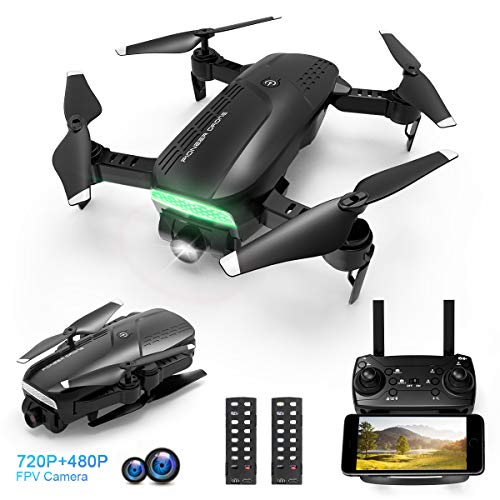 Drones with Camera for Adults, Adjustable 720P HD Camera - Foldable WiFi FPV Quadcopter for Beginners, One Key Return, Follow Me Mode, Altitude Hold, App Control, 2 Batteries, Compatible w/VR Headset