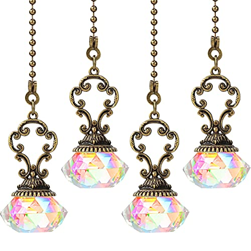 4 Pieces Crystal Ceiling Fan Pull Chains Pendant Colorful Diamond Extender Pull Chain Extension with Connector Crystal Prism Ball Extension for Bathroom Toilet Light Ceiling Light Fan Desk Lamp