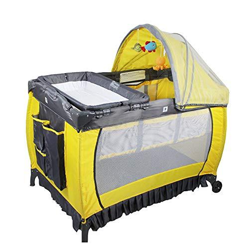 Klappbare Krippe Tragbares Multifunktionales Kinderspielbett Geeignet Für 0-36 Monate (107 * 74 * 73cm) Gelb,Yellow
