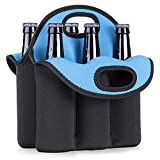 kwmobile Fundas de neopreno para botellas - Set enfriador para 6x botella de 330 ML - Accesorio refrigerador de bebidas negro/azul